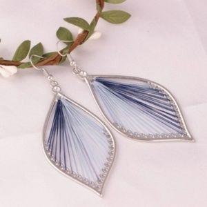 5 for $25 Blue String Leaf Drop Earrings